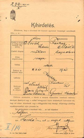 Novák István és Farkas Mária házasságkötésének kihirdetése