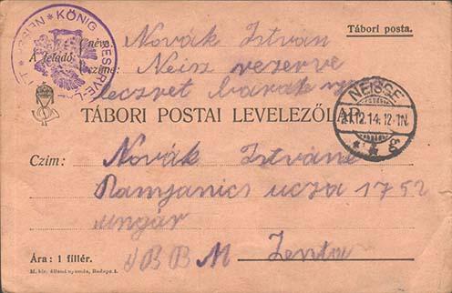 Novák István Neisseből írt tábori lapja