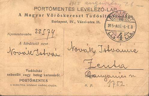 A Magyar Vöröskereszt Egylet Tudósító Irodájának 1915. augusztusi tájékoztatója Novák Istvánné számára