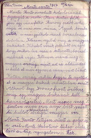 A napló oldala az Isonzónál, a Monte Santón írt verssel