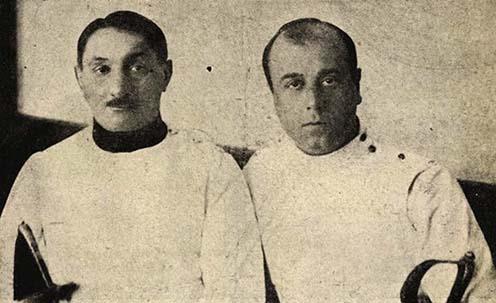 Gerentsér László a mester és tanítványa, Pósta Sándor (1924)