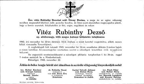 Rubinthy Dezső gyászjelentése