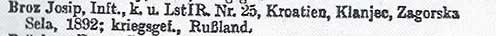 A 332. számú Veszteséglajstrom, amelyben Josip Broz mint hadifogoly szerepel