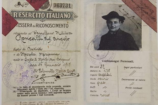 Roncalli hadnagy katonai igazolványa