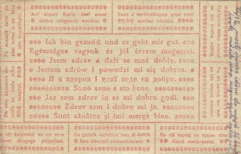 """Egy levelezőlap 1917-ből, amikor Zsiga sem írhatta meg a """"valót""""."""