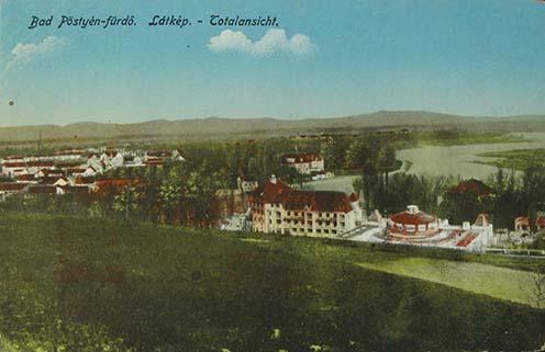 Pöstyén látképe a XX. század elején korabeli képeslapon