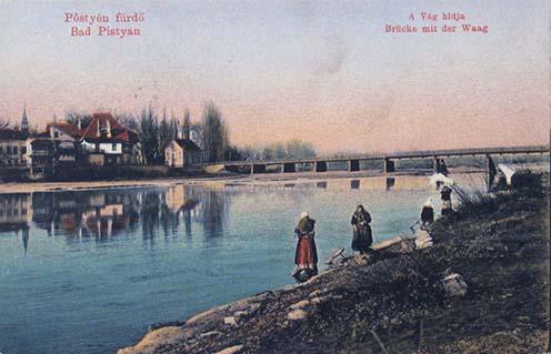 Pöstyén fürdő korabeli képeslapon