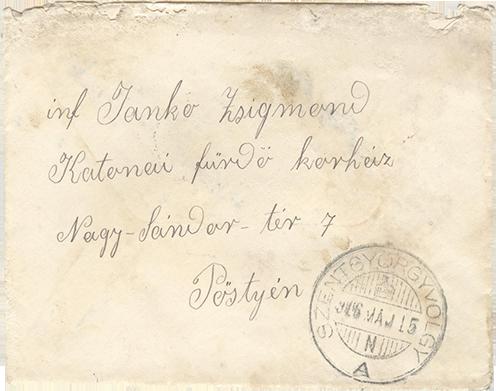 Tilda egyik korábbi levelének borítékja