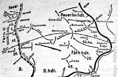 Az 53. hadosztály harcainak helyszíne Volhíniában 1916 nyarán