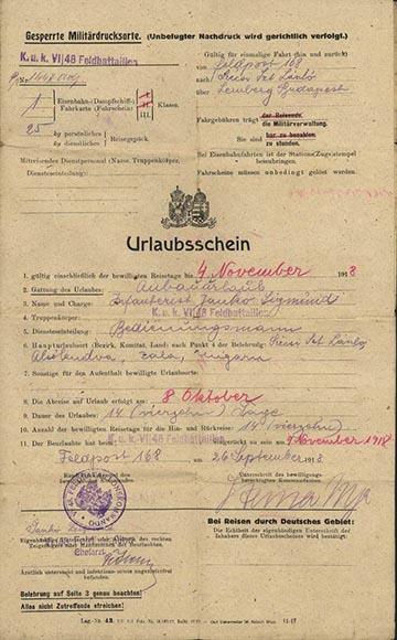 Jankó Zsigmond 1918. szeptember 26-án kelt valószínűleg utolsó szabadságos levele, ami 1918. október 8-tól november 4-ig szólt
