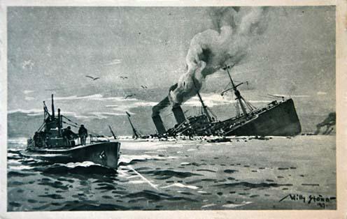Percek alatt elsüllyedő utasszállító hajó nagyszámú, végzetüket váró utasaival, előtérben egy tengeralattjáróval, Willy Stöwer akvarelljén
