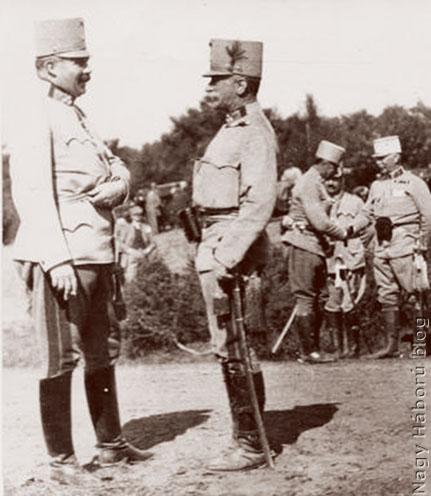 A trónörökös és Conrad von Hötzendorf 1911-ben egy hadgyakorlaton a Duklai-hágónál