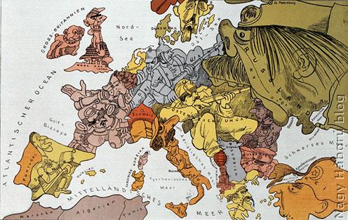 Németországban kiadott szatirikus térkép 1914-ből