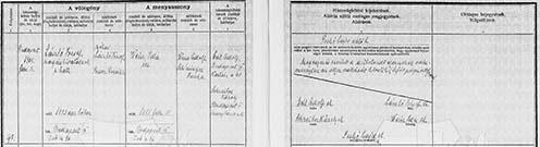 László József családjára vonatkozó anyakönyvi kivonatok