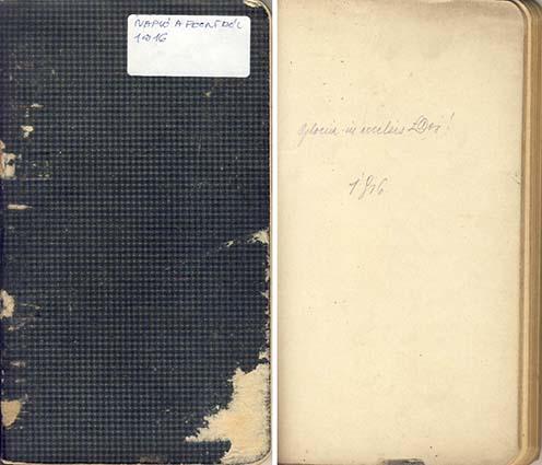 A napló fedőlapja és első oldala a jelmondattal és a dátummal