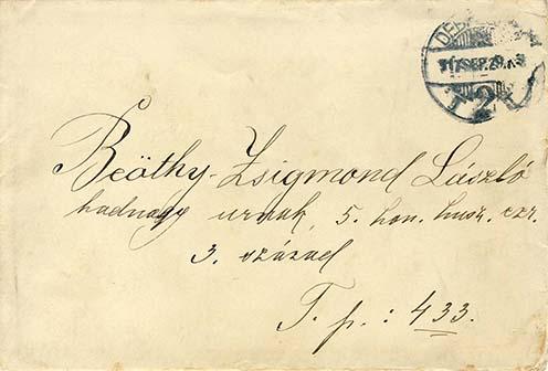 Zsigmond Júlia levelének borítékja