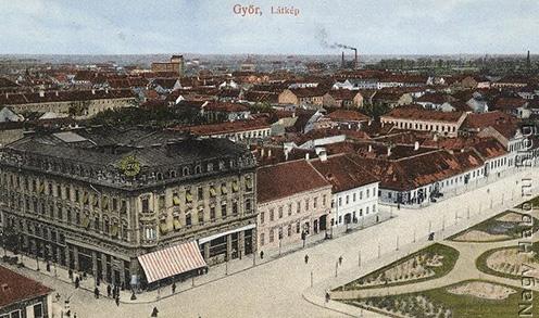 Győr látképe korabeli képeslapon