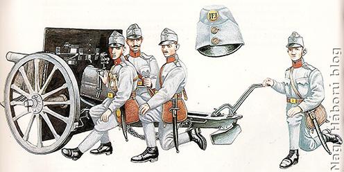 1905 mintájú tábori ágyú és csukaszürkébe öltöztetett kezelőszemélyzete