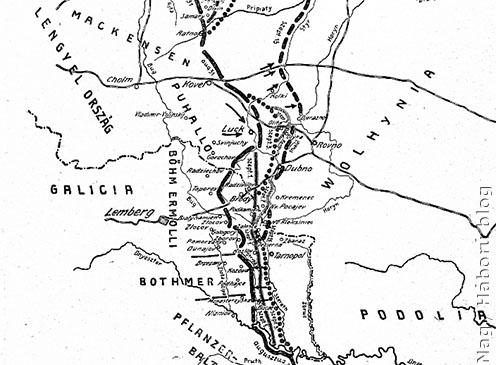 A Bothmer hadsereg támadási iránya