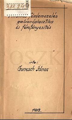 Gunesch János könyvének kézírásos külső borítója
