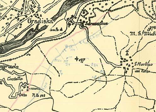 A m. kir. 20. honvéd gyaloghadosztály védővonala (kékkel jelölve) a Doberdó-fennsíkon 1915. július 12-én. A vázlat bal oldalán a naplóíró alakulatának az 1. honvéd gyalogezrednek az állásai