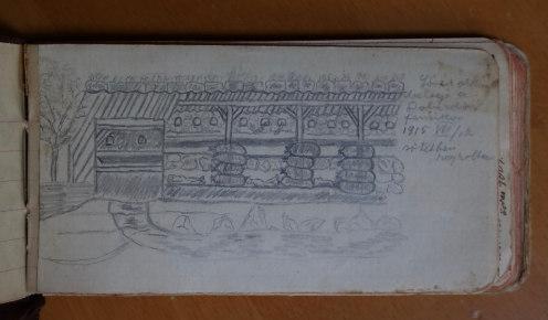 Lövészárok belseje a doberdói fennsíkon, Gunesch János 1915. VII. 17-én sötétben rajzolta