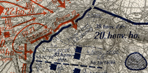 Harctéri helyzet a 2. isonzói csata kezdetén, a m. kir. 20. honvéd gyaloghadosztály védővonala (kékkel jelölve) a Doberdó-fennsíkon 1915. július 18-án. A vázlat bal oldalán láthatóak a naplóíró alakulatának, a budapesti 1. honvéd gyalogezrednek az állásai is