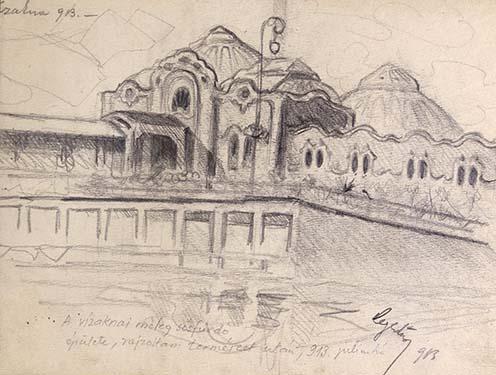"""""""A vízaknai meleg sósfürdő épülete, rajzoltam természet után, 913 július hó."""" (Rajz Hegedős Károly emlékiratából)"""
