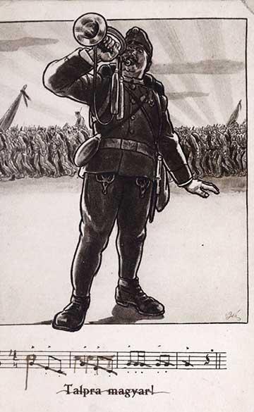 Talpra magyar: egykorú képeslap az emlékirat lapjai közé fűzve
