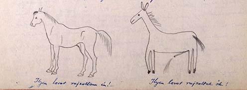 """Hegedős Károly kiválóan lovagolt és már gyerekként is előszeretettel rajzolt lovakat: első palatáblás sikereiről az emlékiratában is beszámolt: """"ilyen lovat rajzoltam én, ilyet ők"""""""