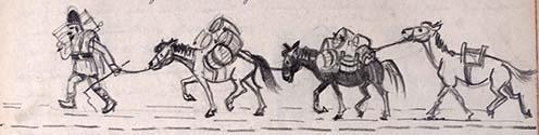 Dézsás oláh a lovaival. Hegedős Károly rajza az emlékiratból