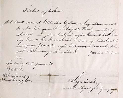 Hegedős Béla gyám kötelező nyilatkozata öccse egyéves önkéntességéhez való hozzájárulásáról – ekkor még a huszárokhoz