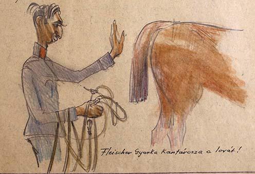 Fleischer Gyurka kantározza a lovát