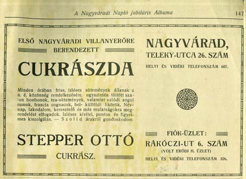 A Stepper cukrászda hirdetése
