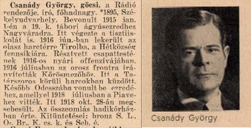 Csanády György (1895-1952), a Székely Himnusz szövegének szerzője (1921)