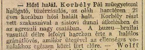 Korbély Pál halálhíre a Magyarország 1917 január 11-i számából: eszerint a román harctéren esett el