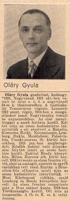 """Oláry Gyula hadiútja """"A magyar tüzér""""-ből"""