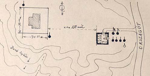 Őrszolgálat helye: térképvázlat az emlékiratból