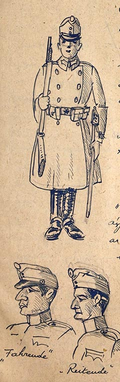 Őrségben álló katona és sapkatípusok: rajz az emlékiratból