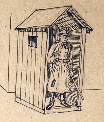 Faköpönyeg: őrbódé rajza az emlékiratból