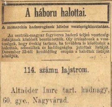 A külföldi magyar nyelvű lapok is közöltek veszteséglistát: az Egyesült Államokban 1908 és 1930 megjelenő Előre című lap 1915. április 15-i száma közli Altnöder Imre nevét is