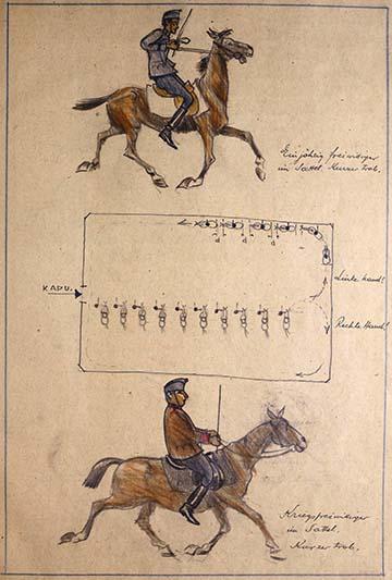 Gyakorlat a fedett lovardában: a rajzon egy fiatalabb (és vékonyabb) egyéves önkéntes valamint egy idősebb (és testesebb) hadiönkéntes rövid ügetésben