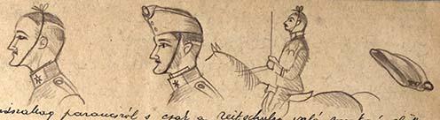 Oláry önkéntes trükkje a sapka szalagjával (rajz az emlékiratból)