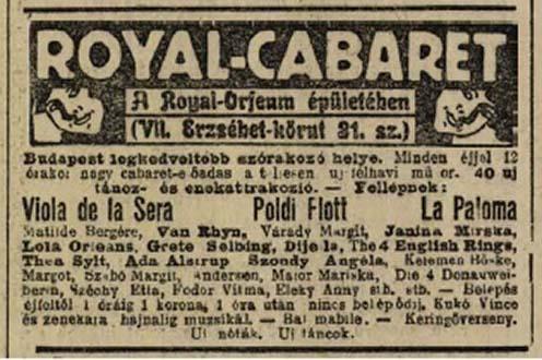 Poldi Flott a Royal Orfeumban is fellépett a Pesti Napló 1911-es hirdetése szerint