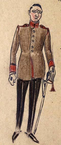 Hegedős Károly az egyenruhájában rajz az emlékiratból