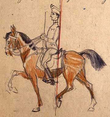 Helyes ülés a lovon: rajz az emlékiratból