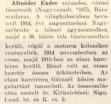 Altnőder Endre hadiútja