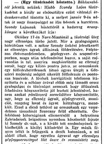 Szondy Lajos hőstettéről a Budapesti Hírlap 1915. február 21-én számolt be