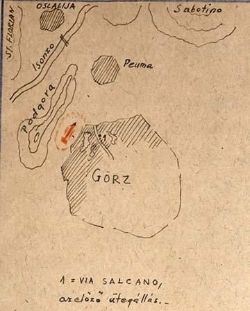 A Via Salcanón lévő ütegállás térképe az emlékiratból