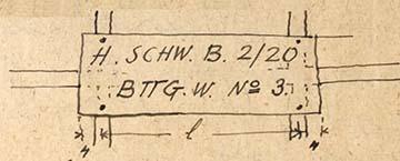 A hármas számú ágyazatszállító kocsi táblája: rajz az emlékiratból